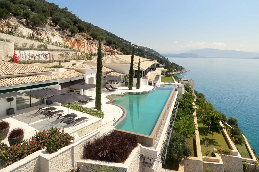 ultima villa corfu external day pool ivy villas