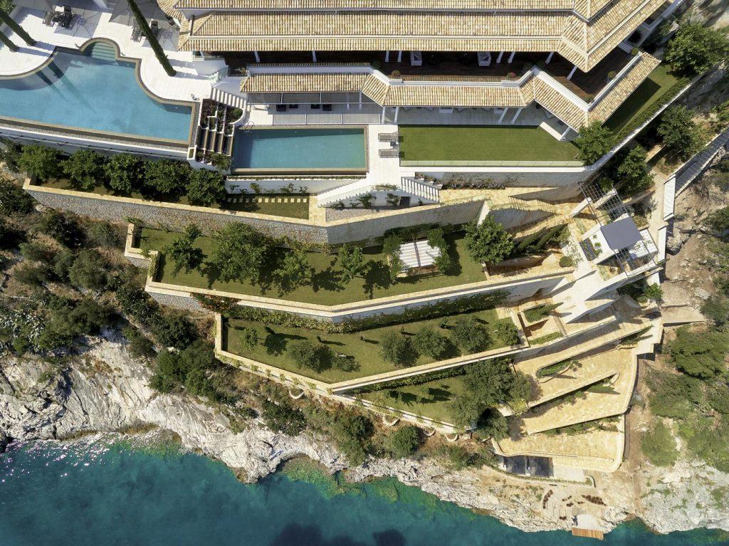 villa ultima corfu ivy villas aerial drone 02