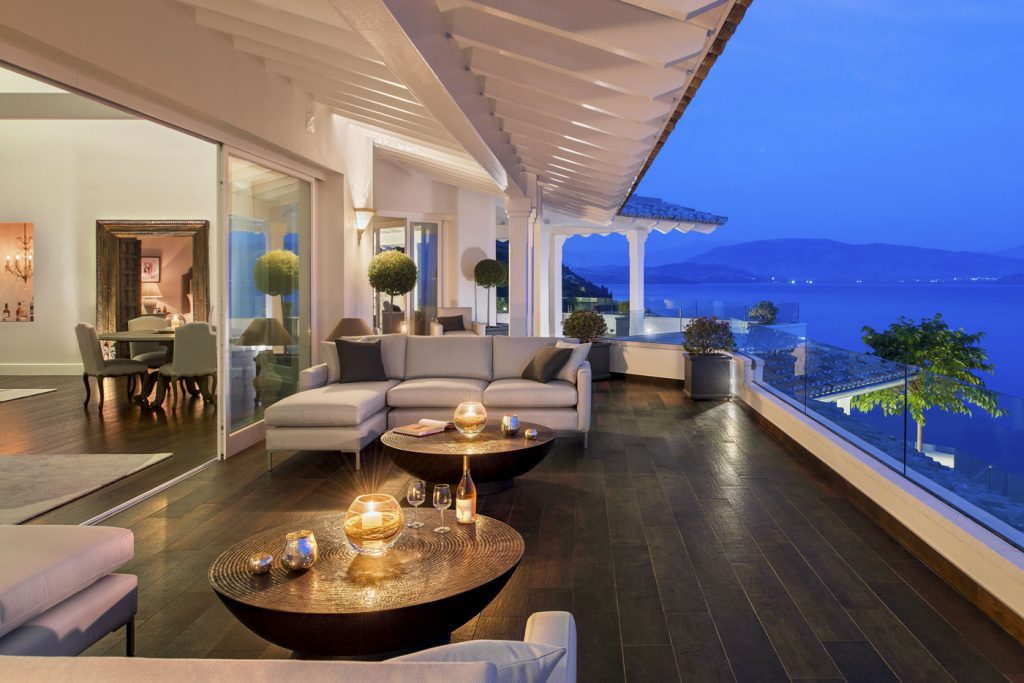 villa ultima corfu ivy villas relaxing outdoors evening view 01
